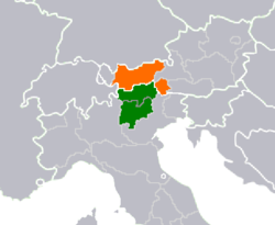 Location of Tyrol–South Tyrol–Trentino in Central Europe