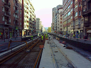 Euskotren Tranbia - Latest extension in Bilbao's tram under construction in 2010.