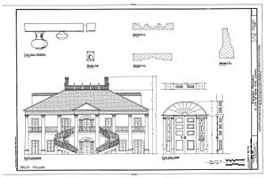 Evergreen Plantation (Wallace, Louisiana) - Drawing by the Historic American Buildings Survey