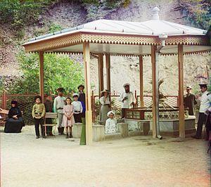 Borjomi (water) - The Yevgeniyevsky spring in Borjomi. Photo by Sergey Prokudin-Gorsky, 1912