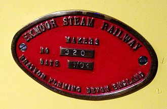 Exmoor Steam Railway - Exmoor Steam Railway Builder's Plate