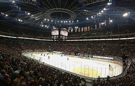 Ice hockey is the most popular sport in the Czech Republic, pictured O2 Arena is the second-largest ice hockey arena in Europe Extraliga Sparta Kladno O2.jpg