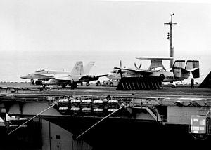 F-18A and E-2C CVWR-30 on USS Enterprise (CVN-65) 1989.JPEG
