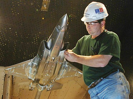 An F-35 wind tunnel testing model in 16-foot (5 m) transonic wind tunnel at the Arnold Engineering Development Center