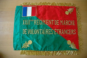 Marching Regiments of Foreign Volunteers - Image: Fanion 22 RMVE recto
