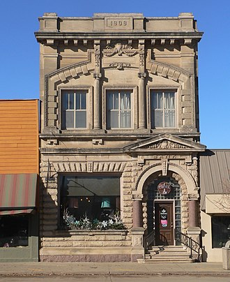 National Register of Historic Places listings in Charles Mix County, South Dakota - Image: Farmers State Bank (Platte, South Dakota) from E 1