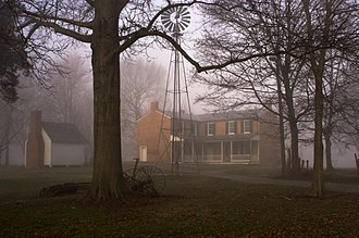 Riverside, The Farnsley–Moremen Landing - The back of the Farnsley–Moreman house on a foggy late winter morning