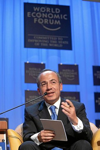 Felipe Calderon, President of Mexico, speaking during Latin America Broadens Its Horizons, a session at the 2007 annual meeting of the World Economic Forum Felipe Calderon Hinojosa - 2007 World Economic Forum Annual Meeting Davos.jpg