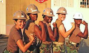Female seabees in Guantanamo. Original caption...