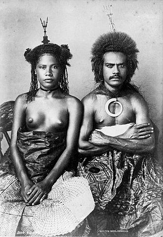 Fijians - 19th century Fijian couple in traditional dress.