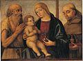 Filippo Mazzola Virgen con niño, San Jerónimo y San Bernardino de Feltre c 1494 NG Londres.jpg