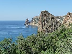 The Black sea, Fiolent rocks formation near Se...