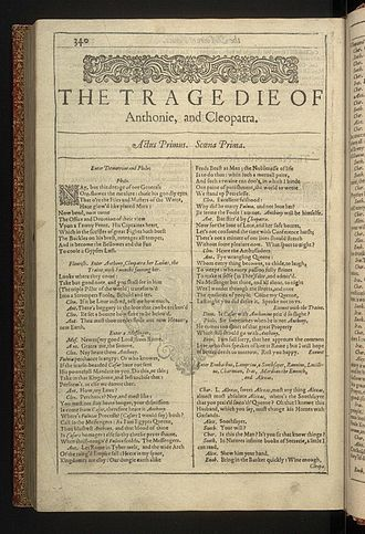 Antony and Cleopatra - The first page of Antony and Cleopatra from the First Folio of Shakespeare's plays, published in 1623.