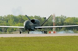 Arrival of the first Northrop Grumman RQ-4 Global Hawk at Grand Forks AFB in May 2011.