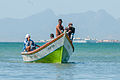 Fishermen returning from fishing in El Guamache, Margarita Island.jpg
