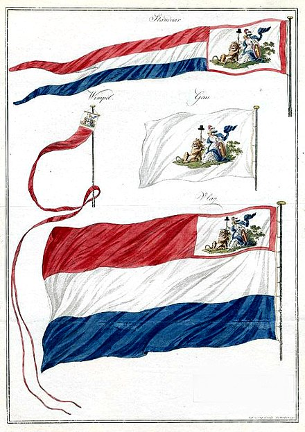 Flag and pennants of the Batavian Republic. The canton features the Netherlands Maiden. Flags of the Batavian Republic.jpg