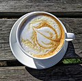 Flat white coffee at Highgate Cricket Club, Haringey, top view position 1.jpg