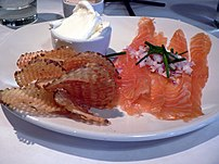 "Pommes gaufrettes and smoked salmon — ""'FISH &..."