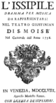 Florian Leopold Gassmann - Issipile - titlepage of the libretto - Venice 1758.png