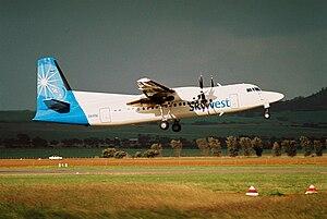 Virgin Australia Regional Airlines - Skywest Fokker 50 departs Geraldton Airport in June 2005
