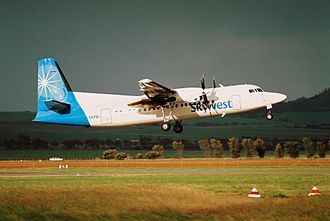 Virgin Australia Regional Airlines - Skywest Fokker 50 departs Geraldton Airport in June 2005