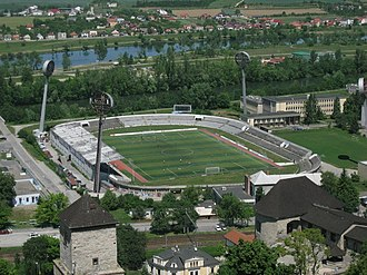 2017–18 Slovak First Football League - Image: Football stadium in Trenčín, Slovakia