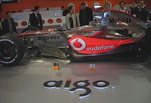 Aigo - Fernando Alonso's Vodafone McLaren Mercedes Formula One car sponsored by Aigo