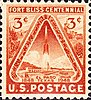 "A stamp, printed in red ink, depicting the blast-off of a V-2 type rocket vessel, with titling ""Fort Bliss Centennial - El Paso Texas"""