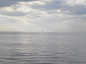Kentish Flats Offshore Wind Farm - Turbines at Kentish Flats, Kent, England, with the WWII gun platforms visible towards the right.