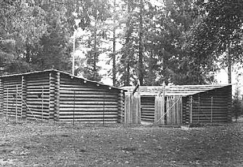 Fort Clatsop replica nearing completion, ca. 1955