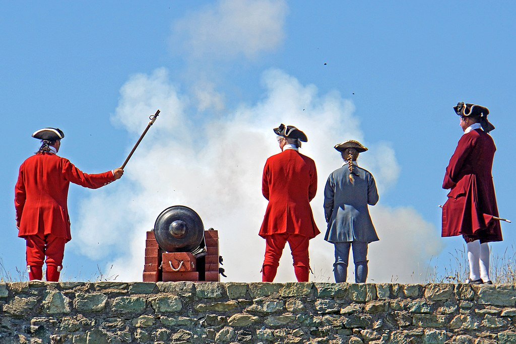 a traditional canon demonstration by reenactors at the Louisbourg Fortress on Cape Breton Island