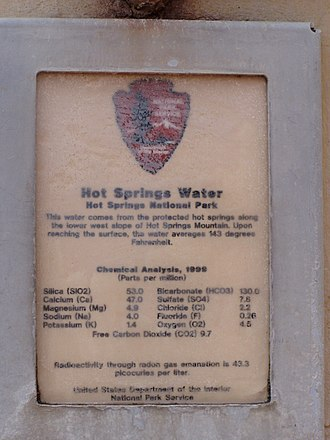 Hot Springs National Park - Water composition sign