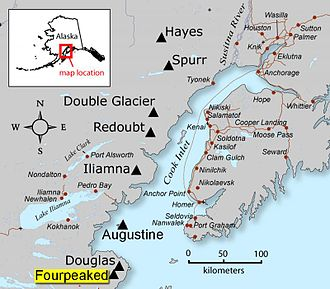 Fourpeaked Mountain - Image: Fourpeaked map 1