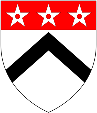 Sir Edmund Fowell, 1st Baronet - Arms of Fowell: Argent, a chevron sable on a chief gules three mullets pierced of the first
