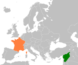 Map indicating locations of France and Syria