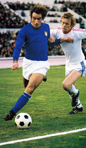 Francesco Graziani - Graziani playing for Italy in 1977