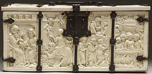 Casket with Scenes of Romances (Walters 71264) - Front side including, from left: Aristotle teaching Alexander the Great, Phyllis riding Aristotle, watched by Alexander from a window, and at the right, old people arriving at the Fountain of Youth, and young naked people in it