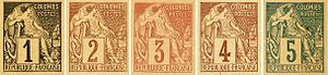 Postage stamps of the French colonies - Image: French Colonies imprints on newspaper wrappers