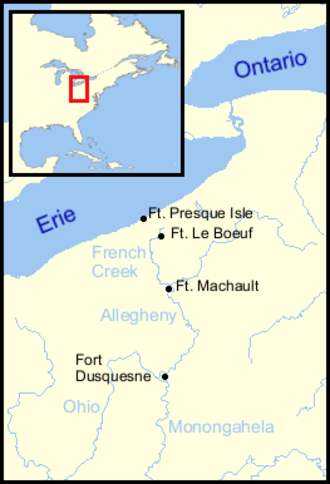 Robert Dinwiddie - French forts near Lake Erie of 1753–54