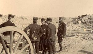 Nogi Maresuke - General Nogi standing in the center facing a captured Russian gun crew outside Port Arthur on 2 January 1905.