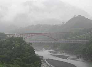 Dahan River - Dahan River and Luo-fu bridge above Shihmen reservoir