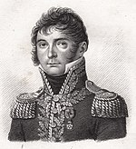 Black and white print shows a clean-shaven man with long sideburns. He wears the high collared and dark uniform of a French general officer of the early 1800s.