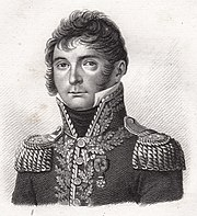 Black and white print shows a round-faced man in an early 1800s military uniform, with high collar and much gold braid.