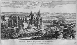 Château de Gaillon - Château de Gaillon; the engraving by Israel Silvestre, dated 1658, shows the informal massing around the gatehouse of 1509; part of the lower parterre is visible at the right.