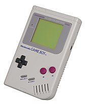 A white Nintendo Game Boy.