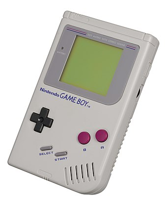 The Nintendo Game Boy was the first successful handheld console, selling over 100 million systems. Game-Boy-FL.jpg