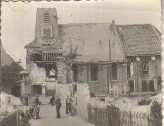 Bleskensgraaf - Image: Gebombardeerde kerk in Bleskensgaaf