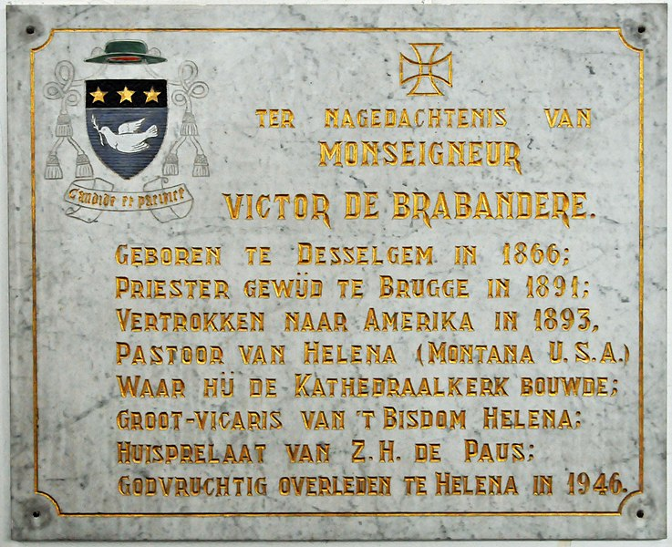 Memorial tablet for Victor De Brabandere (aka Victor Day) in the parish church of Desselgem, West Flanders, Belgium