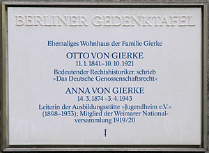 Otto von Gierke - Berlin memorial plaque, Otto and Anna von Gierke, Carmerstraße 12, Berlin-Charlottenburg, Germany