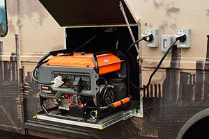 Generac Power Systems - A portable Generac generator mounted on a vehicle.